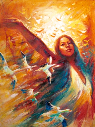 """""""Danse à l'Aube"""", acrylique sur toile 30 x 40 po."""