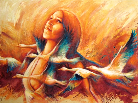 """""""Migration"""", acrylique sur toile 30 x 40 po"""
