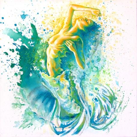 """""""La déferlante"""", acrylique sur toile 24 x 24 po."""