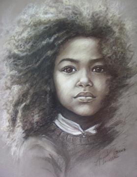Portrait au pastel sec sur papier Canson mi-teinte